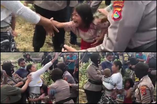 Histeris: Terlihat seorang ibu sedang menggendong dan dipeluk anaknya saat eksekusi lahan KEK Mandalika (ist) | www.talikanews.com