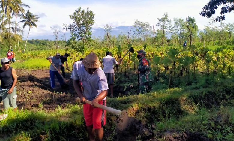 Babinsa dan Warga Montong Gamang buka Akses jalan Usaha Tani