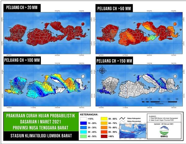 Curah Hujan di NTB masih Tinggi, BMKG Waspadai Potensi Bencana Hidrometeorologis