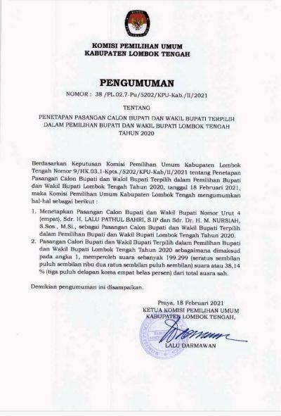 Pengumuman KPU Lombok Tengah